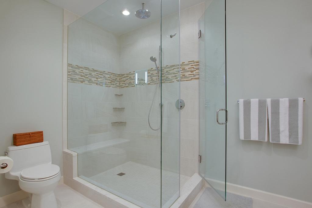 Bathroom remodel, home remodel, Northern Virginia remodel, bathroom design, granite countertops, white sink, shower tv, shower mirror, glass shower,
