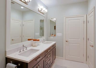 Bathroom remodel, home remodel, Northern Virginia remodel, bathroom design, granite countertops, white sink,