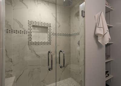 Home remodeling, bathroom remodeling, Northern Virginia remodeling, Daniels Design and Remodeling, bathroom ideas, glass shower, tile shower, tile pattern,