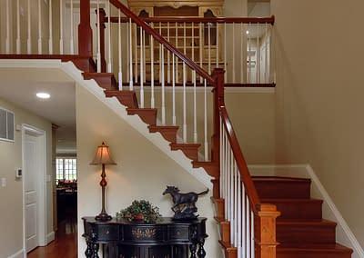 Daniels Design and Remodeling, Northern Virginia remodeling, staircase remodel, front entry remodel, home remodeling ideas, home remodeling design, staircase details, hardwood floors, cherry hardwood,