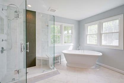 Home remodeling master bathroom design, Northern virginia remodeling, bathroom designs, white bathroom, standalone bath tub, home remodeling